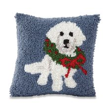 Mud Pie Holiday Poodle Hooked Pillow