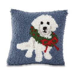 "Mud Pie Holiday Poodle Hooked Pillow 8"" x 8"""