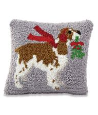 Mud Pie Holiday Springer Spaniel Dog Hooked Pillow