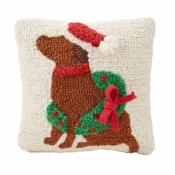 "Mud Pie Mini Christmas Wreath Dog Pillow 8"" x 8"""