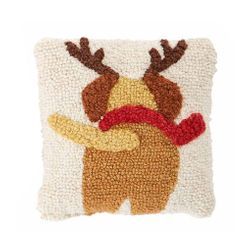 "Mud Pie Mini Reindeer Dog Pillow 8"" x 8"""