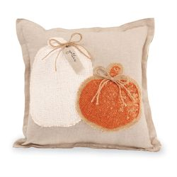 Mud Pie Orange White Pumpkin Sequin Pillows