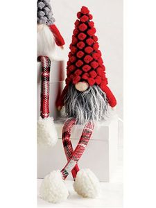 Mud Pie Red Dot Christmas Dangle Leg Gnome 13""