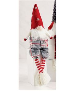 Mud Pie Red Felt Christmas Dangle Leg Gnome 13""