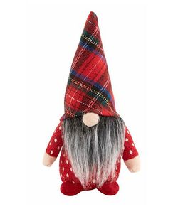 """Mud Pie Red Tartan Hat Small Christmas Gnome Sitter 6"""""""