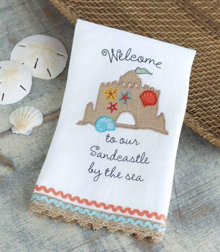 Mud Pie Sandcastle By The Sea Linen Towels