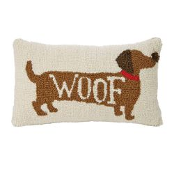Mud Pie Small Hooked Dachshund Pillow - WOOF