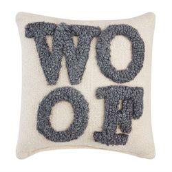 """Mud Pie Small Hooked Throw Pillow - WOOF 8"""" x 8"""""""