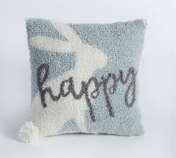 Mud Pie Small Hooked Pom-Pom Pillow - Happy Bunny