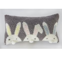 Mud Pie Small Hooked Pom-Pom Pillow - Triple Bunny