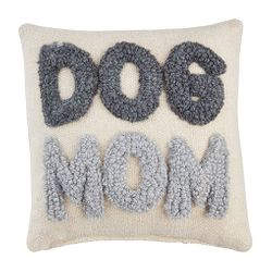 """Mud Pie Small Hooked Throw Pillow - DOG MOM 8"""" x 8"""""""