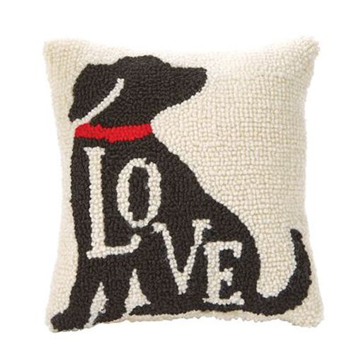 Mud Pie Small Woven Hooked Black Lab Pillow Love