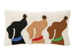 Mud Pie Small Woven Hooked Pom-Pom Pillow - 3 DOG