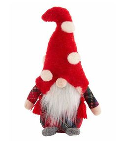 Mud Pie Tartan Body Small Christmas Gnome Sitter 6""