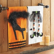 Mud Pie Witch and Cat Halloween Tea Towels Set