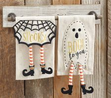 Mud Pie Witch and Ghost Halloween Dangle Leg Towels Set