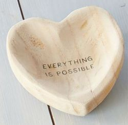 """Mud Pie Wood Heart Trinket Tray - Everything is Possible 5"""""""