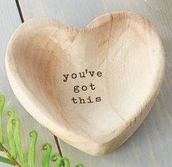 """Mud Pie Wood Heart Trinket Tray - You've Got This 5"""""""