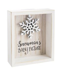 "Ganz ""Snow Funny"" Snowman's Baby Picture - Rustic Box Sign"