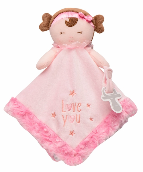 """Snuggle Buddy Plush Doll Blanket with Paci Holder - """"Love You"""""""