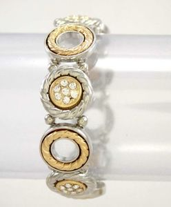 Tri Tone Stretch Bracelet with Rhinestones