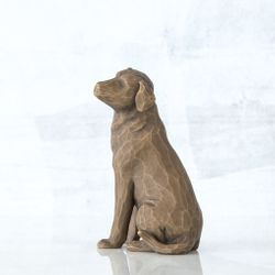 Willow Tree Love My Dog Figurine - Dark Brown