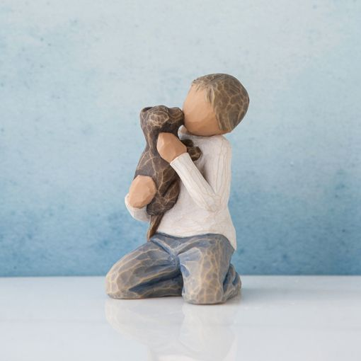 Willow Tree Kindness Boy with Puppy Dog - Darker Skin Tone and Hair