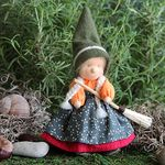 """Evi Doll <br> Little Witch Green <br>6"""" Waldorf Doll"""