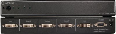 1080p 4 X 1 DVI Switcher w / RS232 - Switch switches 4-DVI in's to 1 DVI out