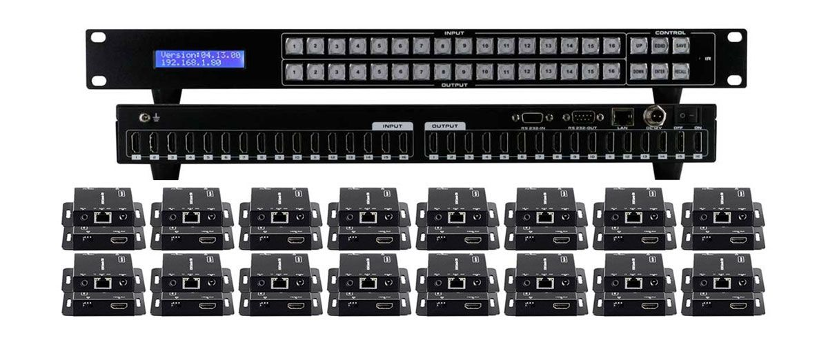 WolfPack 16x16 HDMI Matrix Switch with 16-Separate HDMI Baluns Announced by HDTV Supply, Inc.