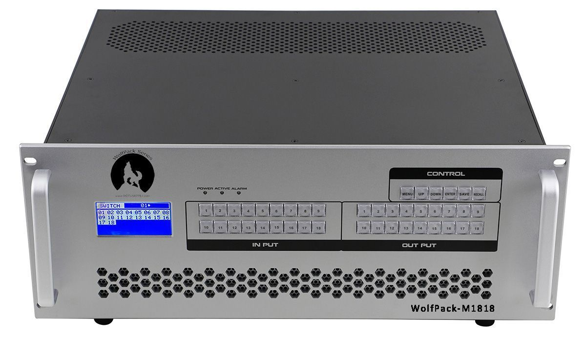 16x7 HDMI Matrix Switch with Silver Colored Front Panel