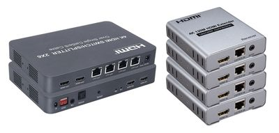 4K 2x6 HDMI Switch / Splitter w/4-CAT5 and 2-HDMI Outs