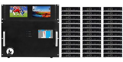 WolfPackPro 4K HDMI Matrix Switchers in 36x36 Chassis & Dual Monitors & HDBaseT over CAT5 Extenders (34)