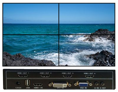4 Output Video Wall w/Sub-Title Scrolling - 1 In to 4-Outs & 180 Degree Flipable