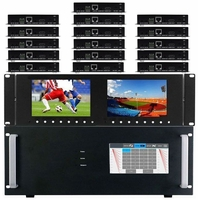 4K 10x16 HDMI Matrix Switcher w/Dual Monitors & HDBaseT CAT5 Extenders