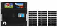 4K 10x24 HDMI Matrix Switcher w/Dual Monitors & HDBaseT CAT5 Extenders