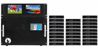 4K 12x26 HDMI Matrix Switcher w/Dual Monitors & HDBaseT CAT5 Extenders