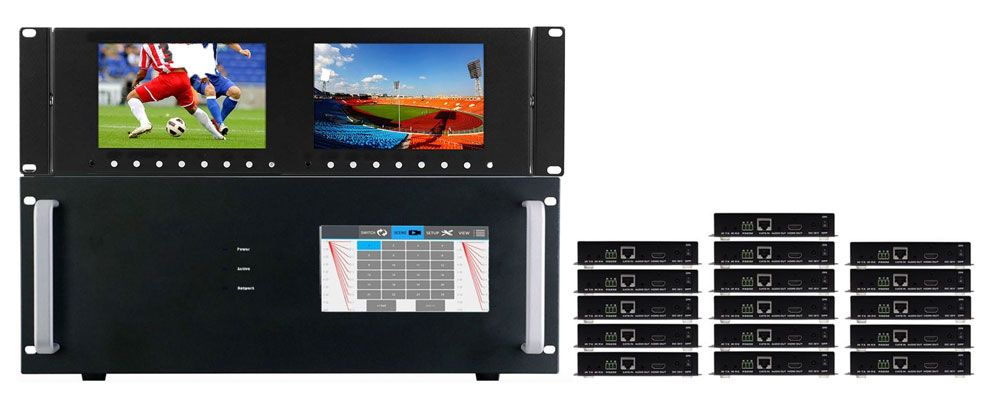 4K 16x16 HDMI Matrix Switcher w/Dual Monitors & HDMI Extenders