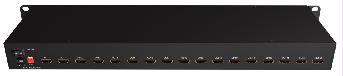 Rack Mount 4K 1x16 HDMI Splitter with EDID