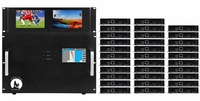 4K 6x32 HDMI Matrix Switcher w/Dual Monitors & HDBaseT CAT5 Extenders