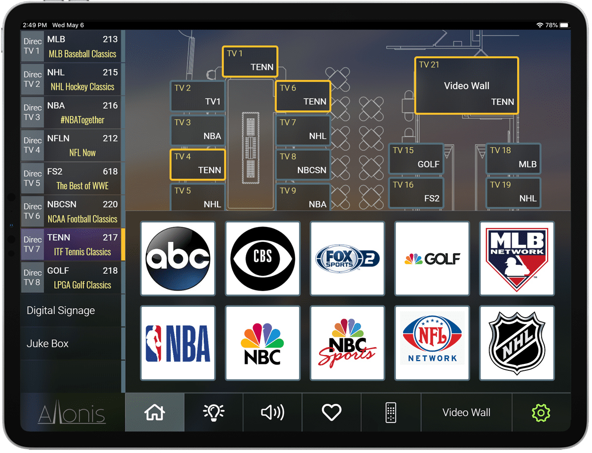 4K Sports Bar 9x8 HDMI Matrix Switcher over CAT5 w/iPad DirecTV Control