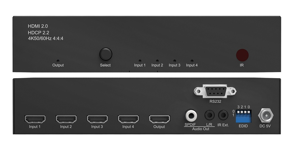 WolfPack 4K/60 4x1 HDMI Switch w/Audio Outs and RS232