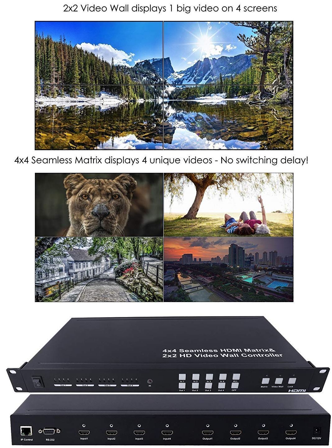 WolfPack 4x4 HDMI Matrix and 2x2 Video Wall