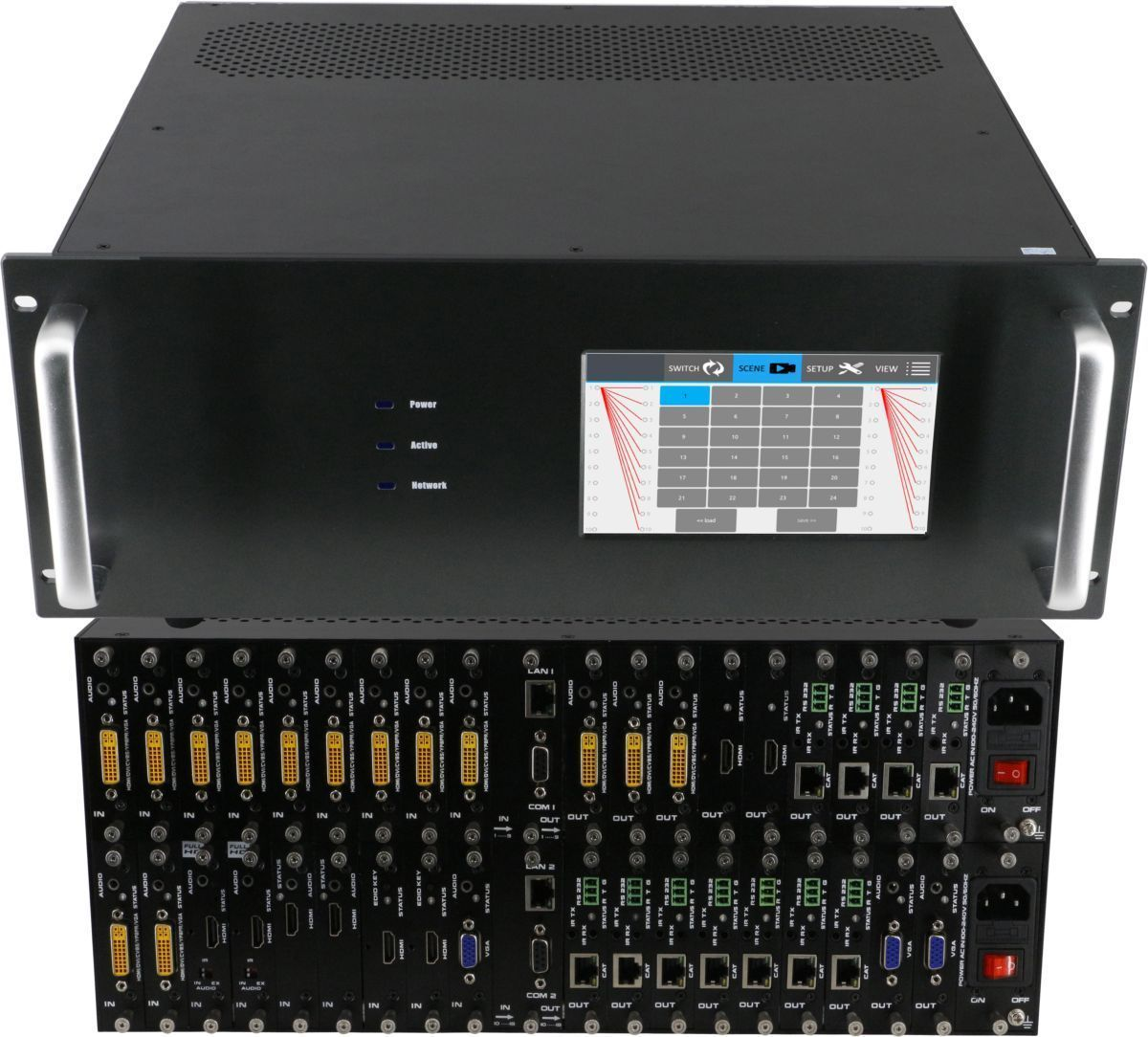 4K 4x8 HDMI Matrix Switcher with Color Touchscreen in 18x18 Chassis
