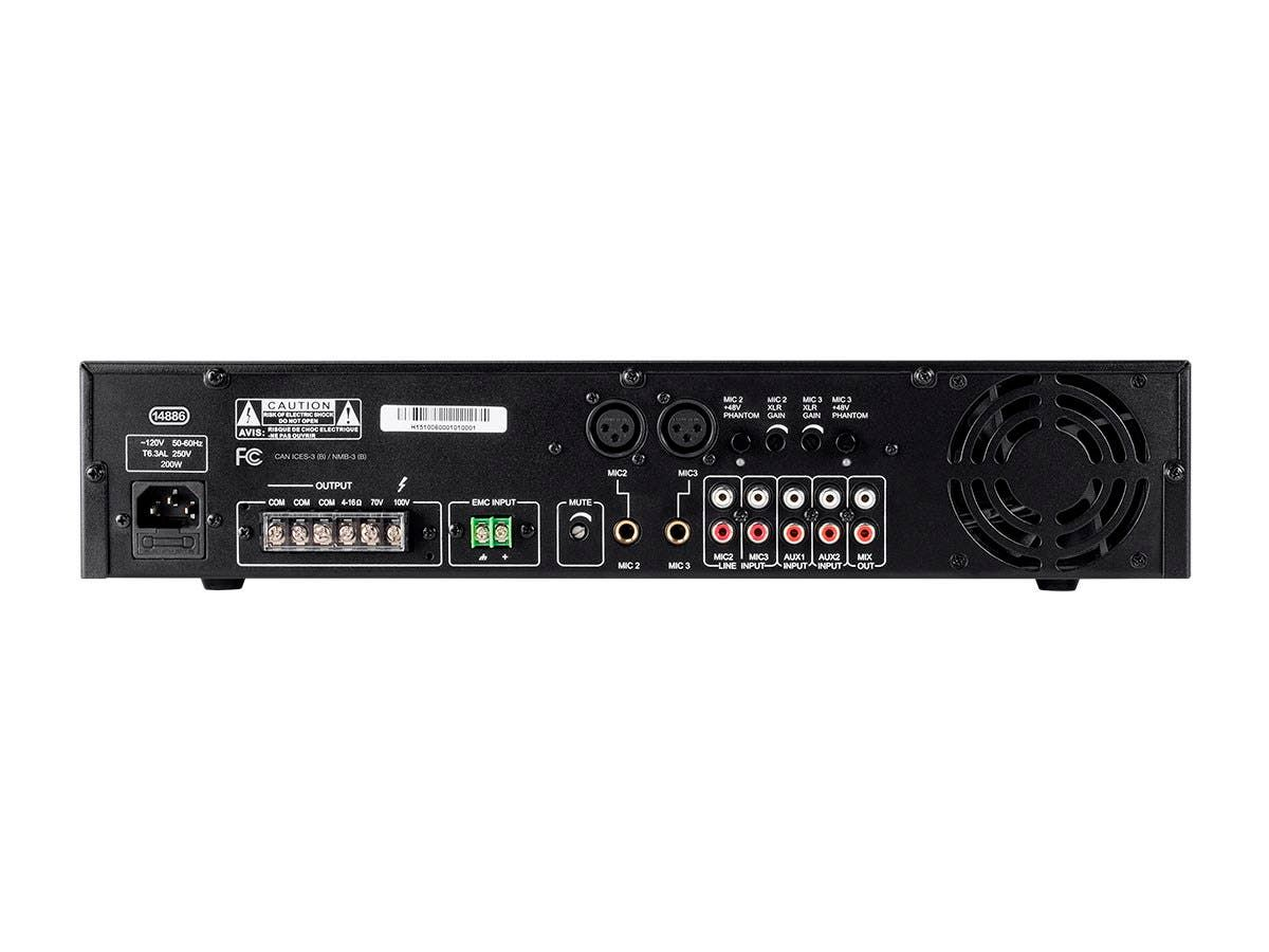 WolfPack 5 Channel 100/70V Mixer Amp with 3-Microphone Inputs