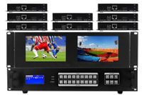 6x8 HDMI Matrix Switcher w/Dual Monitors & HDBaseT CAT5 Extenders