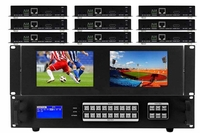 6x9 HDMI Matrix Switcher w/Dual Monitors & HDBaseT CAT5 Extenders