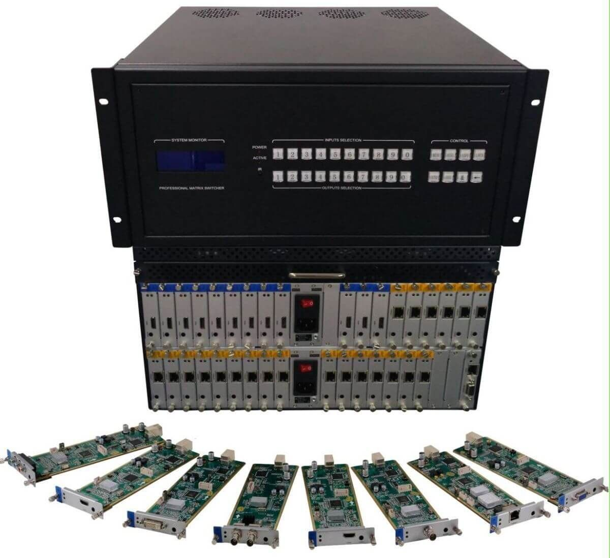 8x16 HDMI Matrix Switcher w/Video Wall Processor, 100ms Switching, Scaling & Separate Audio in 36x36 Chassis