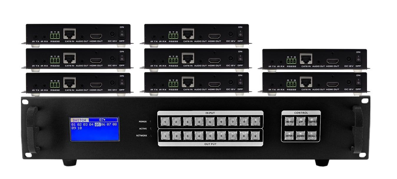 8x8 HDMI Matrix Switcher w/Video Wall, Scaling, Apps, Separate Audio All Over CAT5 Extenders