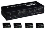 4K WolfPack 4X4x2 HDMI over CAT5 Matrix Switch with 4-HDBaseT Receivers